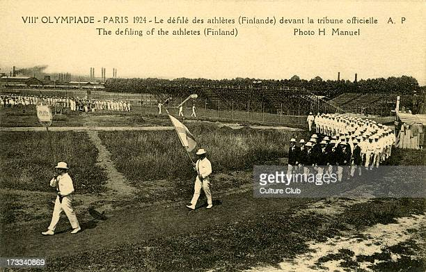 Olympics Parade 1928 Paris France 8th Olympiad Finnish athletes marching past Photo by H Manuel Jeux Olympiques