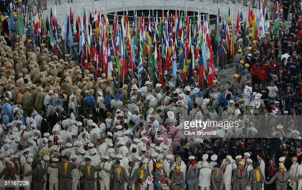 Olympics teams are seen during the opening ceremony of the Athens 2004 Summer Olympic Games on August 13 2004 at the Sports Complex Olympic Stadium...