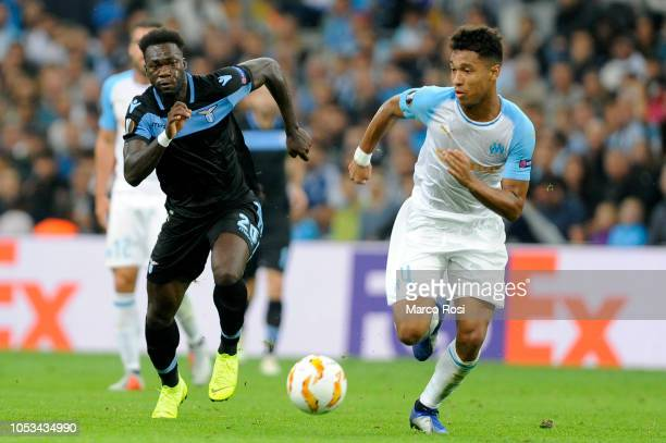 Olympique de Marseille Boubacar Kamara compete for the ball with Felipe Caicedo of SS Lazio during the UEFA Europa League Group H match between...