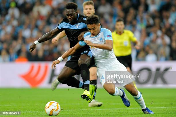 Olympique de Marseille Boubacar Kamaracompete for the ball with Felipe Caicedo of SS Lazio during the UEFA Europa League Group H match between...