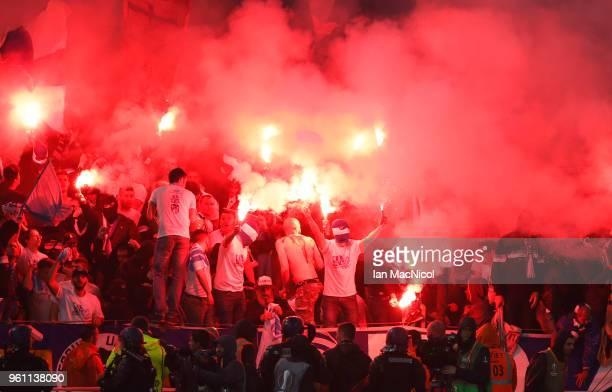 Olympique de Marseille fans are seen during the UEFA Europa League Final between Olympique de Marseille and Club Atletico de Madrid at Stade de Lyon...