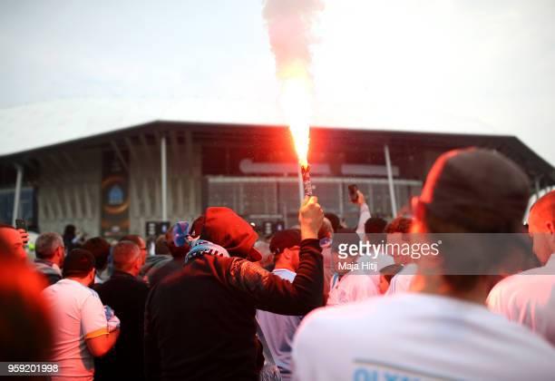 Olympique de Marseille fans enjoy the pre match atmosphere ahead of the UEFA Europa League Final between Olympique de Marseille and Club Atletico de...