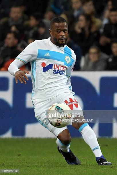 Olympique de Marseille French defender Patrice Evra controls the ball during the French L1 football match between Marseille and Montpellier at the...