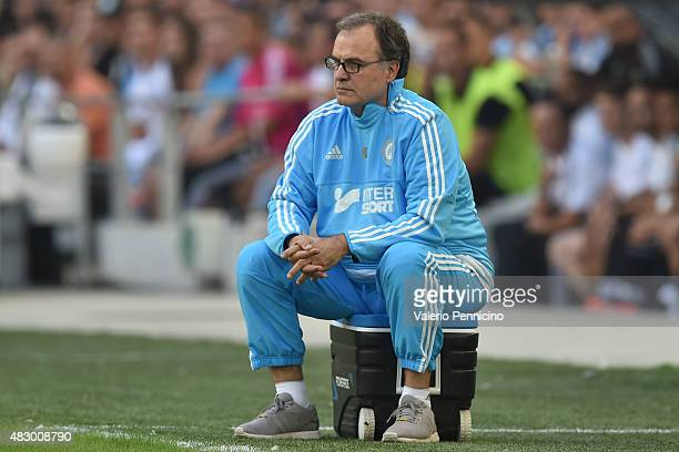 Olympique de Marseille head coach Marcelo Bielsa watches the action during the preseason friendly match between Olympique de Marseille and Juventus...