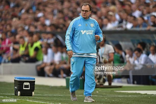 Olympique de Marseille head coach Marcelo Bielsa watches the action during the preseason friendly match between Olympique de Marseille and Juventus...