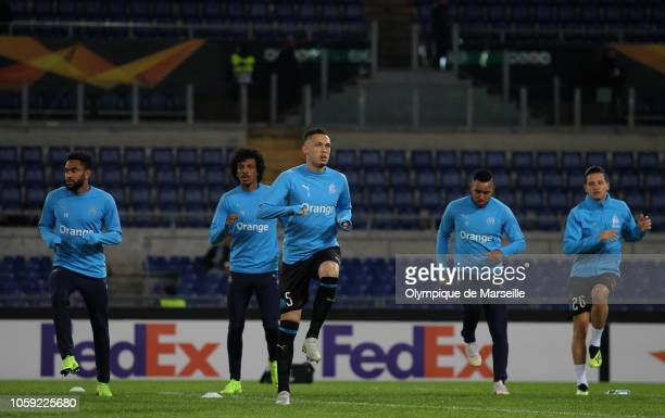 Olympique de Marseille player Lucas Ocampos with his teammates in action during the warm up before the UEFA Europa League Group H match between SS...