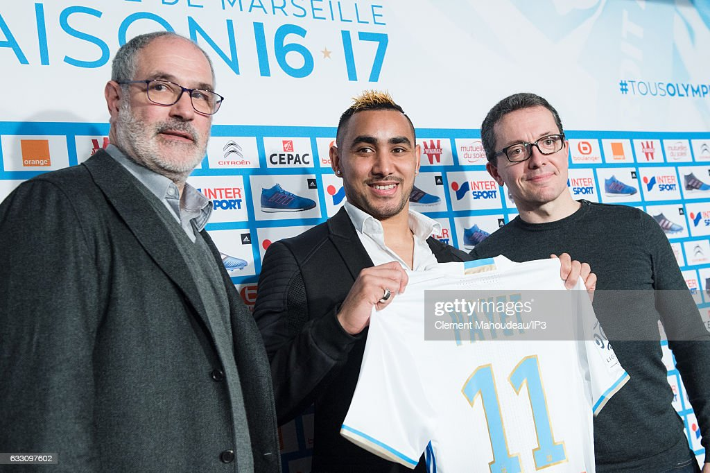 Olympique de Marseille president Jacques Henri Eyraud (R) and manager Jacques Andoni Zubizarreta (L) hold a press conference to present new player Dimitri Payet (C) at the Robert Louis Dreyfus stadium on January 30, 2017 in Marseille, France. The French international has signed a four and a half year contract with the French Ligue 1 club.