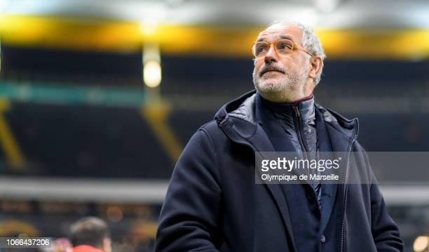 Olympique de Marseille Sport Director Andoni Zubizarreta looks on prior to the UEFA Europa League Group H match between Eintracht Frankfurt and...