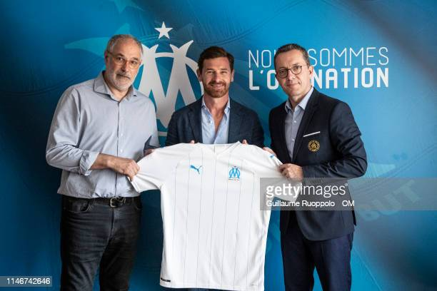 Olympique de Marseille Sport director Andoni Zubizarreta newly appointed coach Andre VillasBoas and president JacquesHenri Eyraud at Centre...