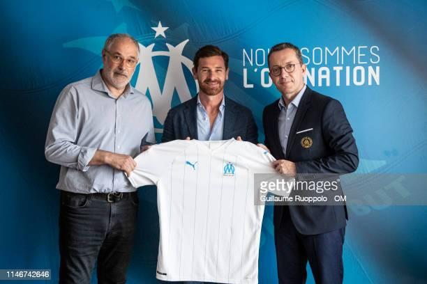 Olympique de Marseille Sport director Andoni Zubizarreta, newly appointed coach Andre Villas-Boas and president Jacques-Henri Eyraud at Centre...