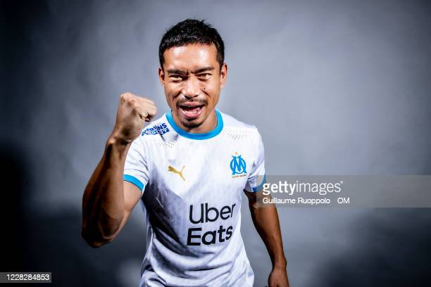 Olympique de Marseille Unveil New Signing Yuto Nagatomo at Centre Robert-Louis Dreyfus on August 31, 2020 in Marseille, France.