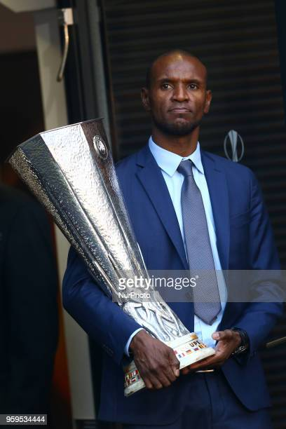 Olympique de Marseille v Atletico de Madrid Uefa Europa League Final Former France and OL player Eric Abidal with the trophy before the match at...