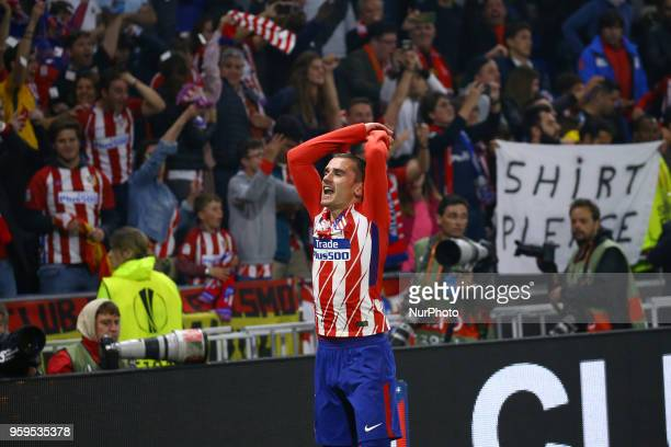 Olympique de Marseille v Atletico de Madrid Uefa Europa League Final Antoine Griezmann of Atletico celebrates at Groupama Stadium in Lyon France on...