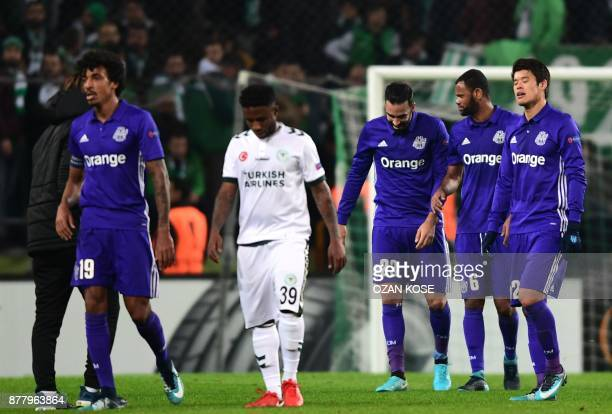 Olympique de Marseille's and Konyaspor's players react after the end of the UEFA Europa League Group I football match between Konyaspor and Olympique...