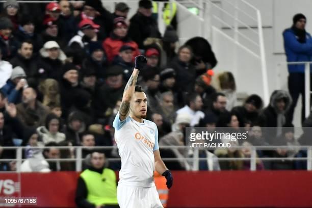 Olympique de Marseille's Argentinian forward Lucas Ocampos celebrates after scoring a goal during the French L1 football match Dijon vs Olympique de...