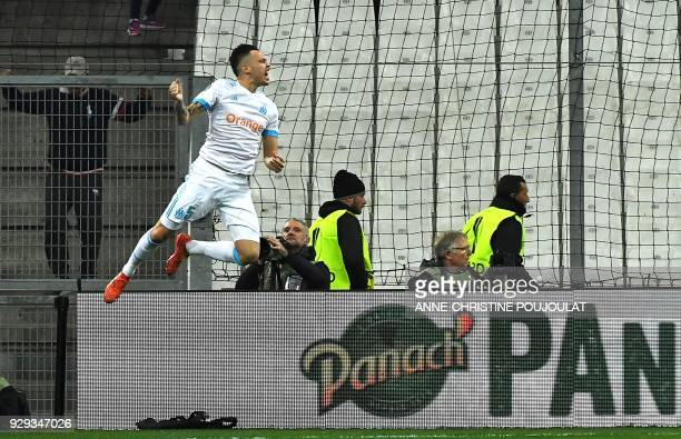 Olympique de Marseille's Argentinian forward Lucas Ocampos celebrates after scoring during the UEFA Europa League football match between Marseille...