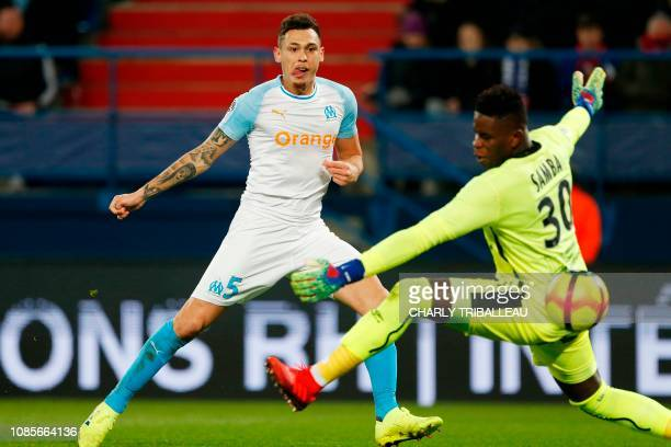 Olympique de Marseille's Argentinian forward Lucas Ocampos scores an offside goal during the French L1 football match between Caen and Marseille on...