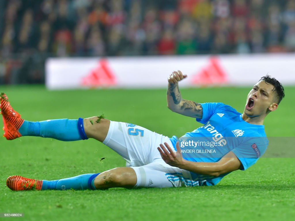 Olympique de Marseille's Argentinian midfielder Lucas Ocampos celebrates after scoring his team's second goal during the UEFA Europa League round of sixteen second leg football match between Athletic Club Bilbao and Olympique de Marseille at the San Mames stadium in Bilbao on March 15, 2018. /