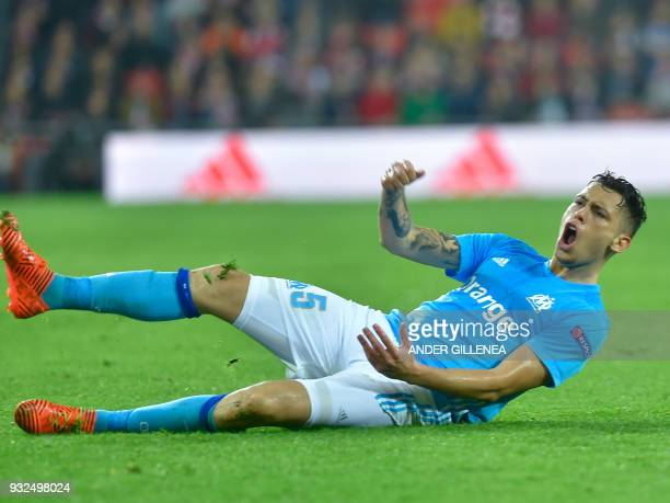 Olympique de Marseille's Argentinian midfielder Lucas Ocampos celebrates after scoring his team's second goal during the UEFA Europa League round of...