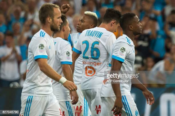 Olympique de Marseille's Cameroonian forward Clinton Njie celebrates after scoring a goal during the French L1 football match Olympique de Marseille...