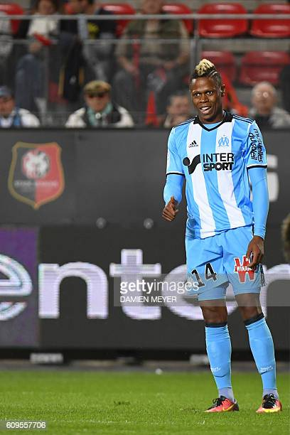 Olympique de Marseille's Cameroonian forward Clinton Njie gives the thumb during the French L1 football match Rennes against Marseille on September...