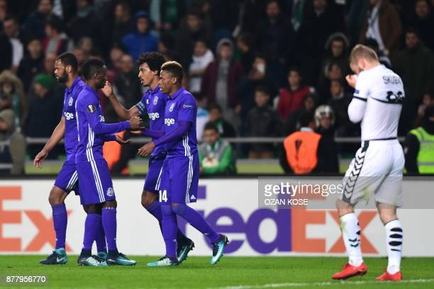 Olympique de Marseille's Clinton Njie celebrates with his team mates after Konyaspor's Wilfried Moke scored an own goal during the UEFA Europa League...