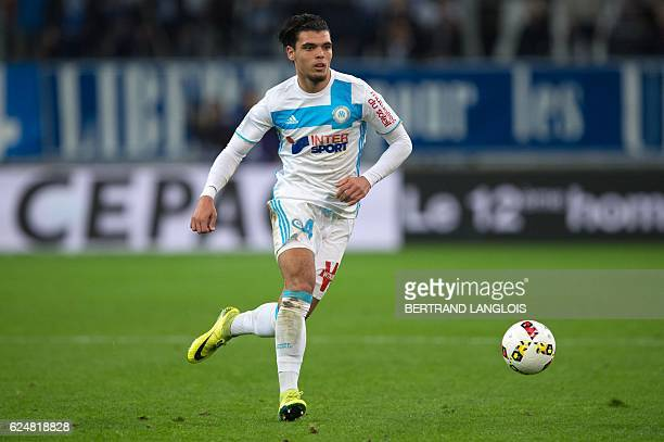 Olympique de Marseille's Dutch defender Karim Rekik runs with the ball during the French L1 football match between Olympique de Marseille and Stade...