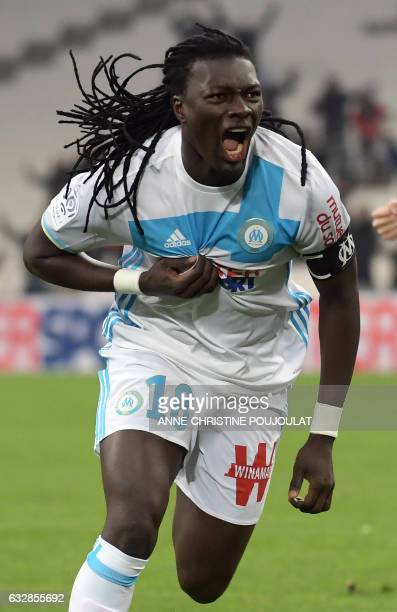 Olympique de Marseille's French forward Bafetimbi Gomis celebrates after scoring a goal during the French L1 football match between Marseille and...