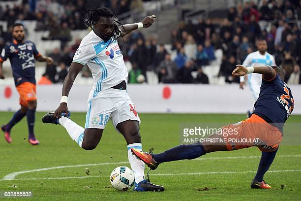 Olympique de Marseille's French forward Bafetimbi Gomis scores a goal during the French L1 football match between Marseille and Montpellier at the...