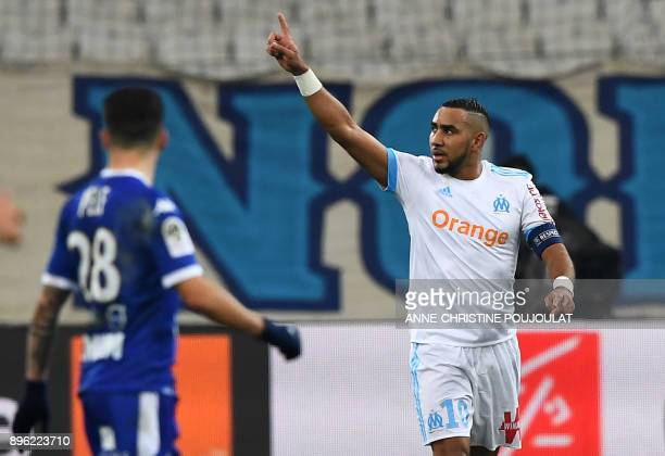 Olympique de Marseille's French forward Dimitri Payet celebrates after scoring a goal during the French L1 football match between Olympique de...