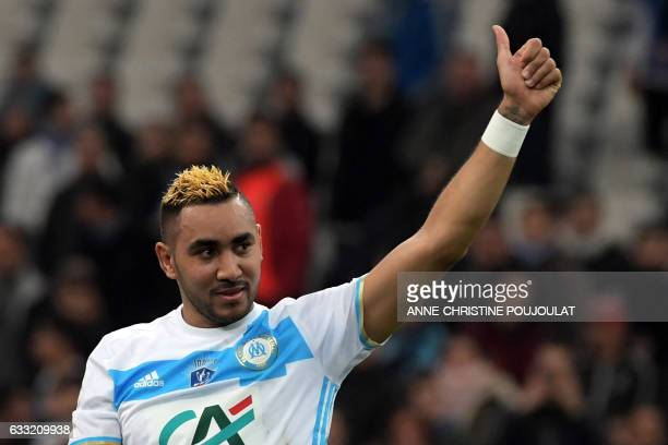 TOPSHOT Olympique de Marseille's French forward Dimitri Payet celebrates at the end of the French Cup football match between Marseille and Lyon on...
