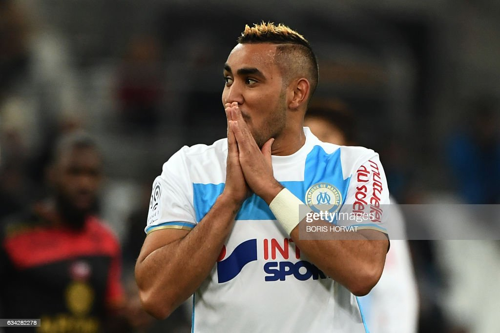 Olympique de Marseille's French forward Dimitri Payet reacts during the French Ligue 1 football match between Olympique de Marseille (OM) and Guingamp at the Velodrome stadium in Marseille on February 8, 2017. /