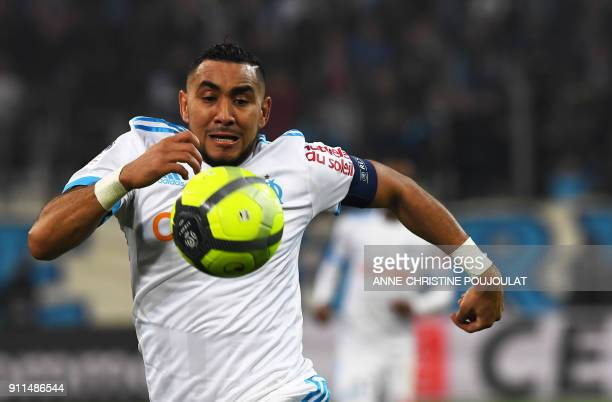 Olympique de Marseille's French forward Dimitri Payet runs for the ball during the French L1 football match Marseille vs Monaco on January 28 2018 at...