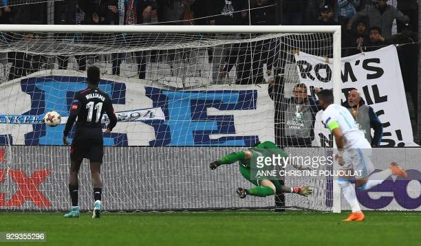 Olympique de Marseille's French forward Dimitri Payet scores during the UEFA Europa League football match between Marseille and Atletic Bilbao on...