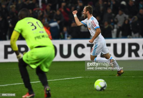 Olympique de Marseille's French forward Valere Germain celebrates after scoring a goal during the French L1 football match between Olympique de...