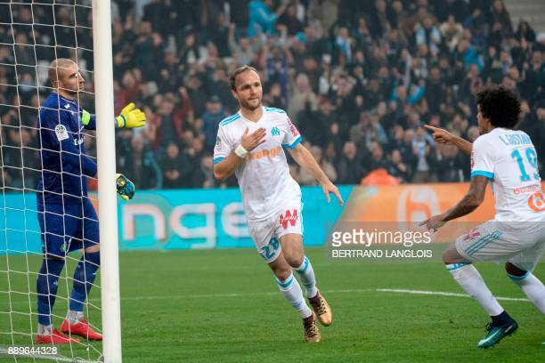Olympique de Marseille's French forward Valere Germain celebrates after scoring during the French L1 football match Olympique de Marseille vs...