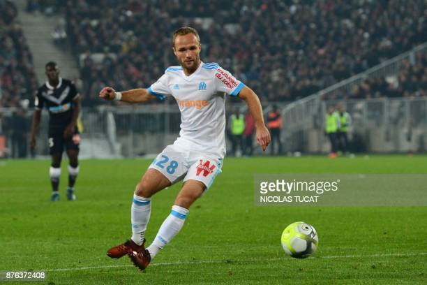 Olympique de Marseille's French forward Valere Germain controls the ball during the French Ligue 1 football match between Bordeaux and Marseille at...