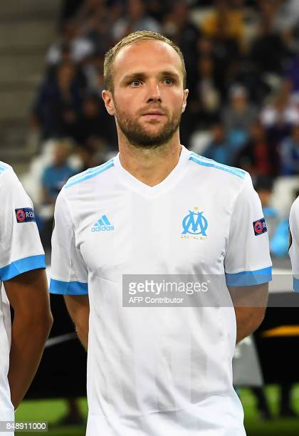 Olympique de Marseille's French forward Valere Germain poses before the UEFA Europa League football match Marseille versus Konyaspor on September 14...