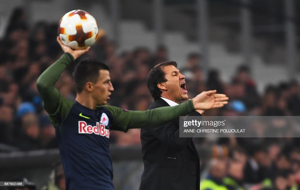 Olympique de Marseille's French head coach Rudi Garcia reacts during the UEFA Europa League football match Marseille vs Salzburg on Décember 07, 2017 at the Velodrome stadium in Marseille, southern France. /