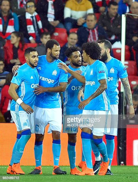 Olympique de Marseille's French midfielder Dimitri Payet celebrates a goal during the UEFA Europa League round of sixteen second leg football match...