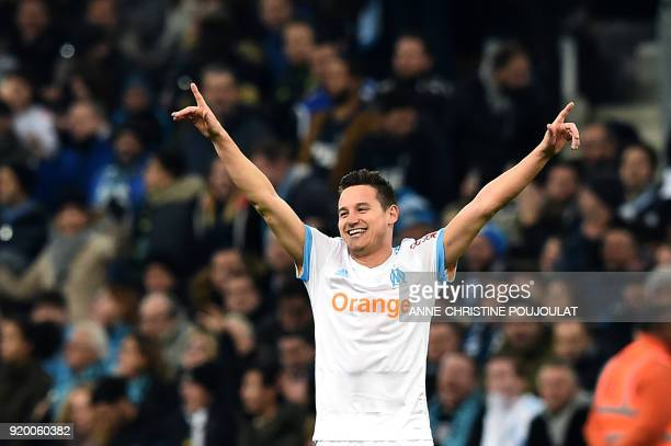 Olympique de Marseille's French midfielder Florian Thauvin celebrates after scoring a goal during the French L1 football match Marseille vs Bordeaux...