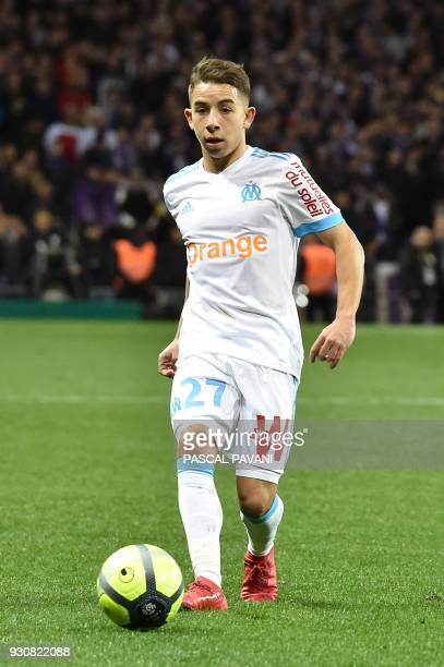 Olympique de Marseille's French midfielder Maxime Lopez controls the ball during the French L1 football match between Toulouse and Marseille on March...