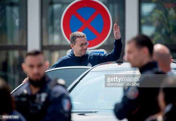 Olympique de Marseille's French president JacquesHenri Eyraud gestures as he leaves the MarseilleProvence airport in Marignane southern France on May...