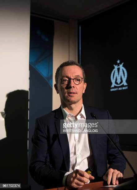 Olympique de Marseille's French president JacquesHenri Eyraud gives a press conference at the RobertLouis Dreyfus training centre in Marseille...