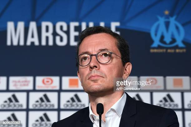 Olympique de Marseille's French president JacquesHenri Eyraud speaks during a press conference to present a new player on July 6 in Marseille...