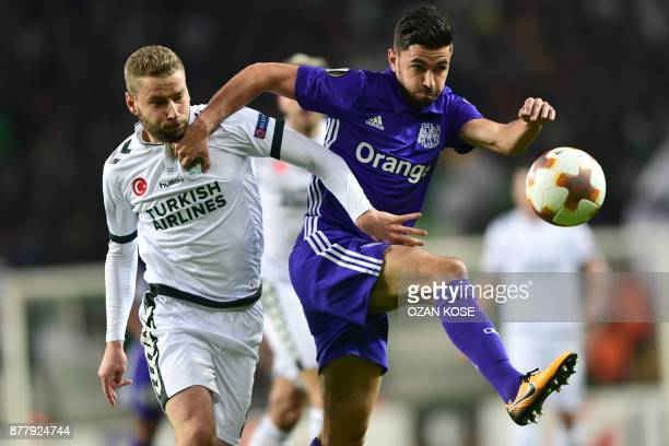 Olympique de Marseille's Morgan Sanson vies for the ball with Konyaspor`s Nejc Skubic during the UEFA Europa League Group I football match between...