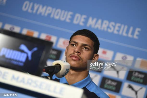 Olympique de Marseille's new player Brazilian forward Luis Henrique attends a press conference in Marseille, southeastern France, on September 29,...