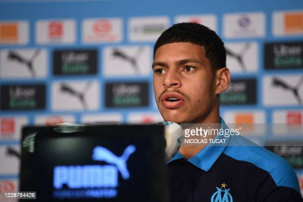 Olympique de Marseille's new player Brazilian forward Luis Henrique speaks during a press conference in Marseille, southeastern France, on September...