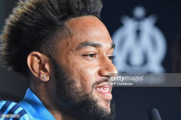 Olympique de Marseille's newly recruited player Jordan Amavi speaks to the press during his official presentation on August 10 2017 at the...