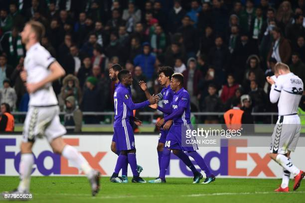 Olympique de Marseille's players celebrates after scoring a goal during the UEFA Europa League Group I football match between Konyaspor and Olympique...